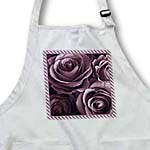 click on Close up scene of dreamy muted plum purple roses surrounded by a striped frame to enlarge!