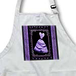 click on Lavender purple frilly dress with leaves and coordinating ribbon on black background to enlarge!