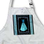 click on Turquoise blue design with dress and leaves and damask ribbons on black background to enlarge!