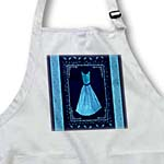 click on Turquoise blue design with dress and leaves and damask ribbons on navy blue background to enlarge!