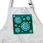 click on Turquoise and teal fantasy mandala flower on dark teal green damask background to enlarge!