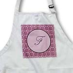 click on Elegant letter F in a round frame surrounded by a floral pattern all in rose pink monotones to enlarge!