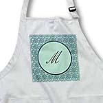 click on Elegant letter M in a round frame surrounded by a floral pattern all in teal green monotones to enlarge!