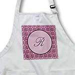 click on Elegant letter R in a round frame surrounded by a floral pattern all in rose pink monotones to enlarge!