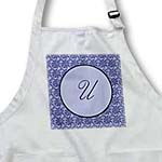 click on Elegant letter U in a round frame surrounded by a floral pattern all in lavender blue monotones to enlarge!