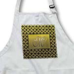 click on Elegant letter M embossed in gold frame over a black fleur-de-lis pattern on a gold background to enlarge!