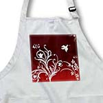 click on Floral pattern in white on a dark red to red gradient background with dove and butterflies. to enlarge!