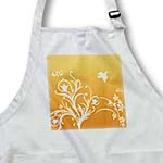 click on Floral pattern in white on a orange to pumpkin background with dove and butterflies. to enlarge!