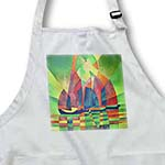 click on Sea of Green - red, green, yellow, boats, cubism, sailboat, sails to enlarge!