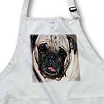 click on Close up of Pet Pug Dog in Tan and Black with Its Pink Tongue Hanging out of its Mouth to enlarge!