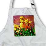 click on Pretty Yellow Flowers with Green Leaves Done in a Watercolor Paint Like Finish on a Rust Stucco to enlarge!