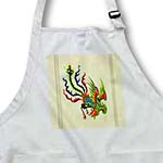 click on Green, blue and red swooping Chinese rooster with cream background and dark line accents to enlarge!