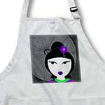 click on Cute Geisha Girl with Umbrella - Purple and Green to enlarge!