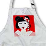 click on Cute Geisha Girl with Flowers - Red to enlarge!