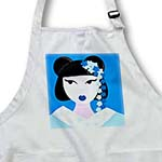 click on Cute Geisha Girl with Flowers - Blue to enlarge!