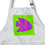 click on Cute Bright Purple and Pink Stripe Tropical Fish on Green to enlarge!