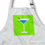 click on Bright Blue Martini in Glass with Olive - Green Background to enlarge!