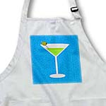 click on Bright Green Martini in Glass with Olive - Blue Background to enlarge!
