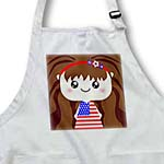 click on Cute Kawaii Cartoon Patriotic Girl wearing American Flag Dress for July 4th Independence Day to enlarge!