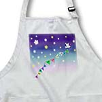 click on Reach for the Stars Quote - Cute white dove bird flying colorful bunting through star filled sky to enlarge!