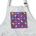 click on Birds and Leaves pattern on indigo violet purple - Contemporary Trendy Sweet Cartoon birds art to enlarge!