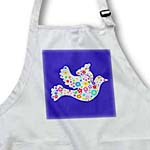 click on Floral White dove of peace flying on midnight blue - flowers - contemporary stylish flowery pattern to enlarge!