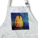 click on Yellow Pear with shades of Red on a Vibrant Blue-Green with Black background. to enlarge!