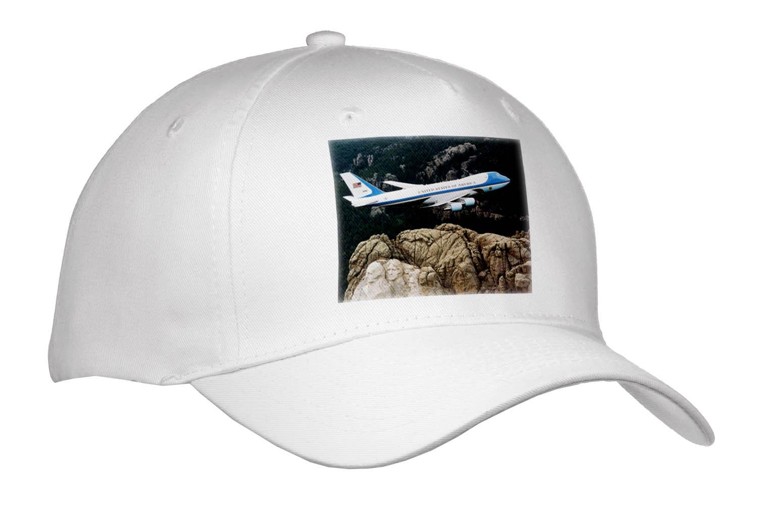 3dRose - Florene Transportation - Air Force 1 Flying Over Mount Rushmore.jpg - Caps