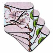 3dRose - Dooni Designs Monogram Initial Designs - Cherry Blossom Flower Monogram Initial L - Coasters
