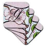 3dRose - Dooni Designs Monogram Initial Designs - Cherry Blossom Flower Monogram Initial Y - Coasters