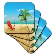 3dRose - Anne Marie Baugh Beaches - Beach Scene With A Beach Chair and Palm Tree - Coasters