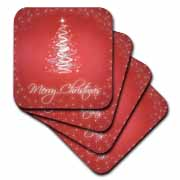 3dRose - Rewards4life Gifts - Merry Christmas Cards With Tree Red - Coasters at Sears.com