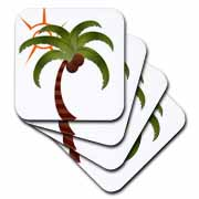 3dRose - TNMGraphics Summer - Palm Tree and the Sun - Coasters