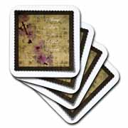 3dRose - PS Inspirations - Listen To Your Heart Inspired Cherry Blossom Floral - Coasters
