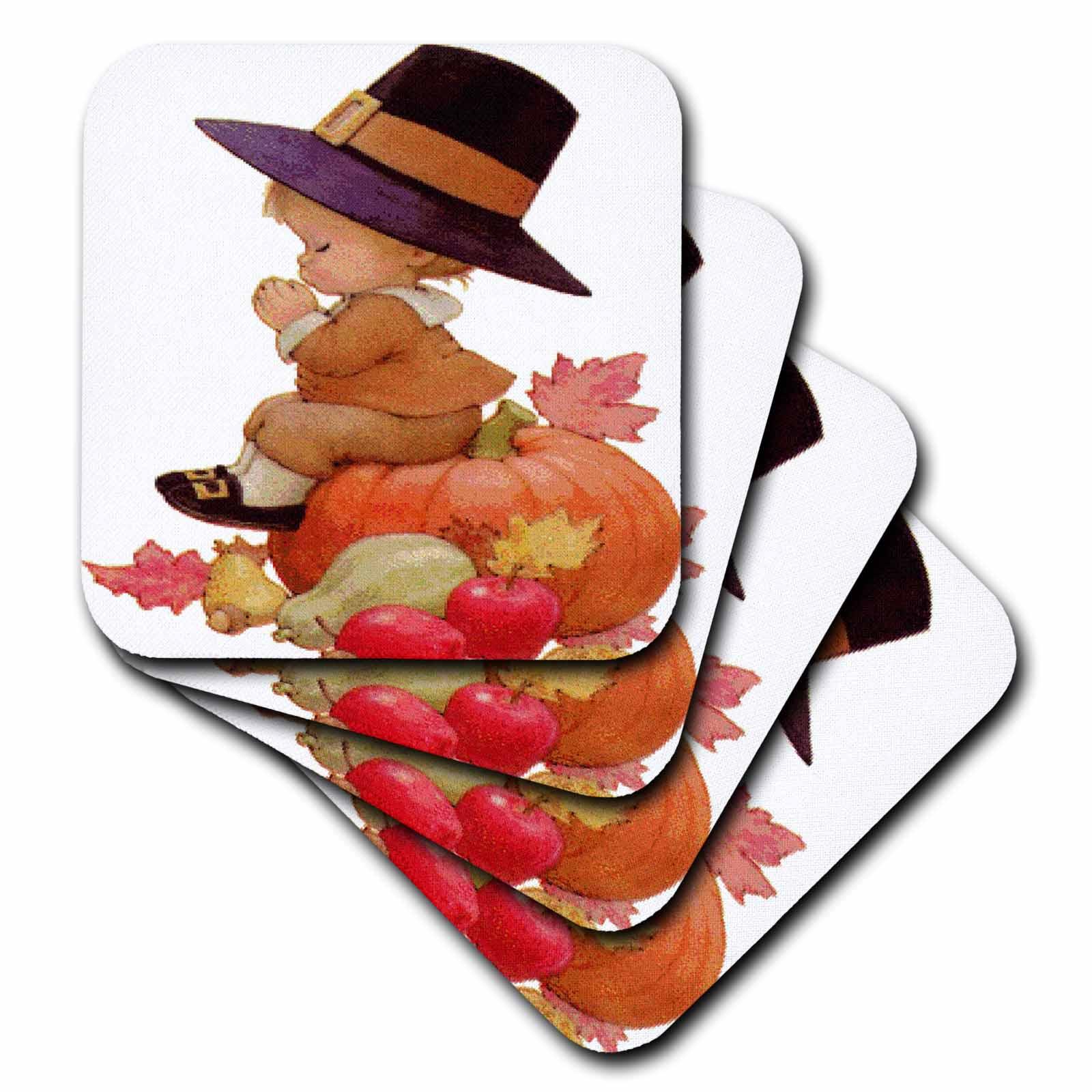 Vintage Pilgrim Boy on Pumpkin Coasters