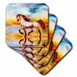 click on This work features a proud Arabian Stallion prancing along the beach at sunset to enlarge!