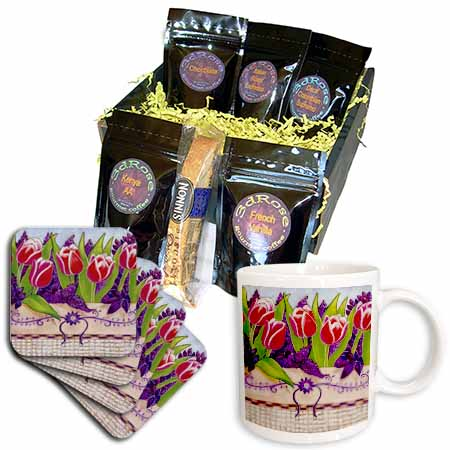 click on tulips red red tulips flowers tulips in basket basket purple lilacs pastel cheerful bright to enlarge!