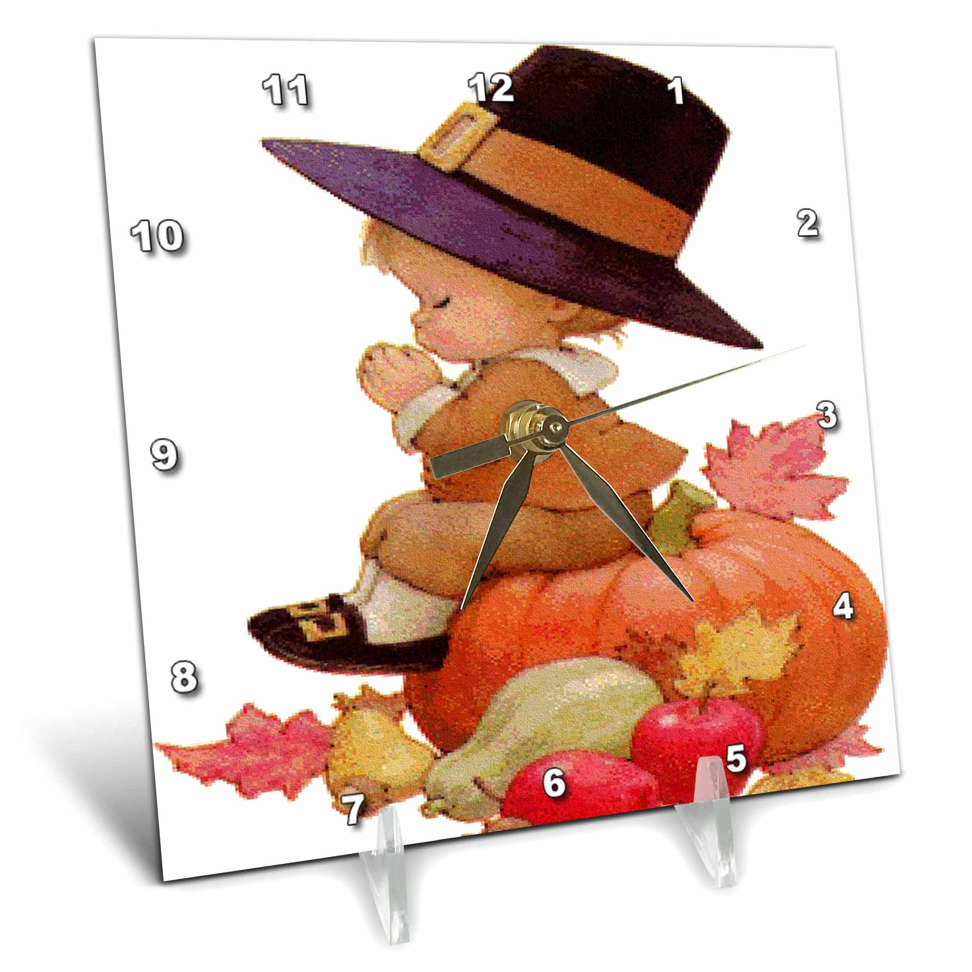 Vintage Pilgrim Boy on Pumpkin Desk Clock