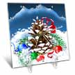 click on A festive Christmas Pinecone with ornaments and pretty ribbon in the Winter snow to enlarge!