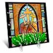 click on A colorful Stained glass window of the cross of Jesus at Easter to enlarge!