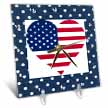click on Heart Shape USA Flag On Navy Blue Polka Dots to enlarge!