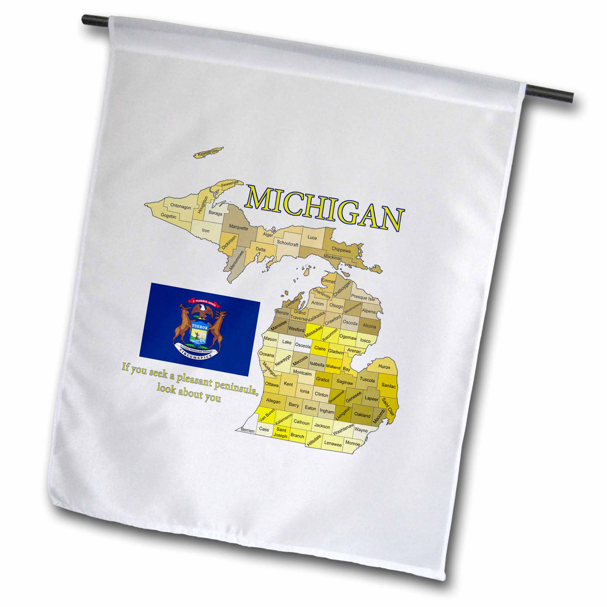 3drose Fl 195253 1 Flag Map And Motto Of Michigan With All Counties Labeled Garden Flag