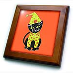 click on black cat cat in costume Halloween cat orange Halloween whimsical cat whimsical illustration to enlarge!