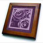 click on Muted purple roses surrounded by a striped and marbelized frame to enlarge!