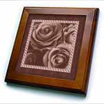 click on Dark chocolate brown roses surrounded by a striped and marbelized frame to enlarge!