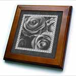 click on Pewter gray roses surrounded by a striped and marbelized frame to enlarge!