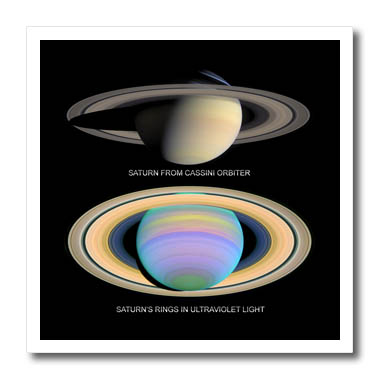 3dRose - Sandy Mertens Space Gallery - Solar System - Saturn from Cassini Orbiter and Rings in Ultraviolet Light