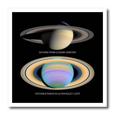 3dRose - Sandy Mertens Space Gallery - Solar System - Saturn from Cassini Orbiter and Rings in Ultraviolet Light