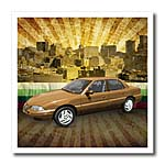 click on In The City textured graphic design features a car in urban city landscape to enlarge!