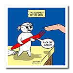click on Out to Lunch Cartoon - Doughboy Off His Medications Turns Violent to enlarge!
